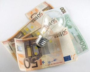 Light bulb with some euros