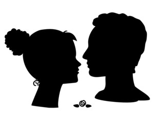 Retro style young couple silhouettes