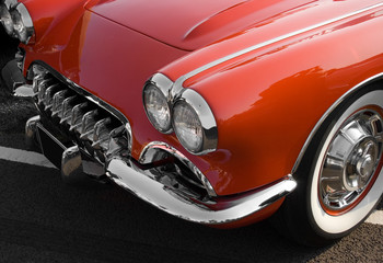 Foto op Textielframe Rood, zwart, wit Classic red American sports car with chrome trim