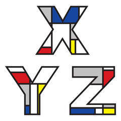 mondrian alphabets - part of a full set
