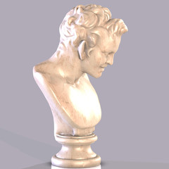 Statue of the grecian god Satyr. with Clipping Path