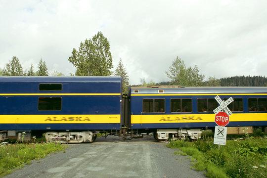 Colorful passenger train in Alaska