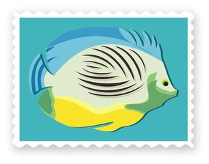 Briefmarke mit Fisch-Vector
