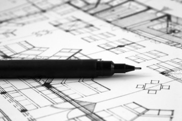 A precision pen on a architects plan