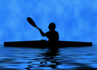 Silhouette of a paddler in a kayak