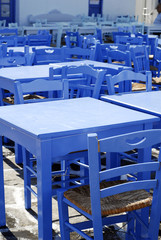 blue table and chair