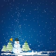 christmas card with snowman, vector
