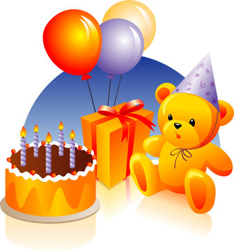 Birthday cake, present, teddy bear, party hat, balloons