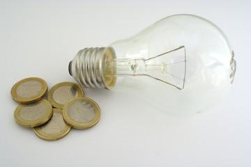 Light bulb with euros