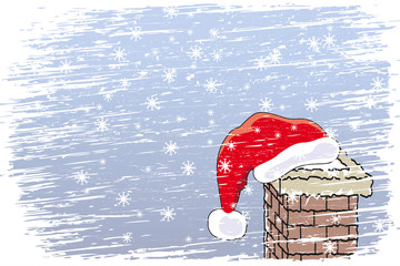 Santa's cap on the chimney