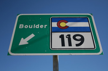 Colorado highway 119 sign to Boulder
