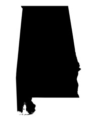 Detailed b/w map of Alabama, USA