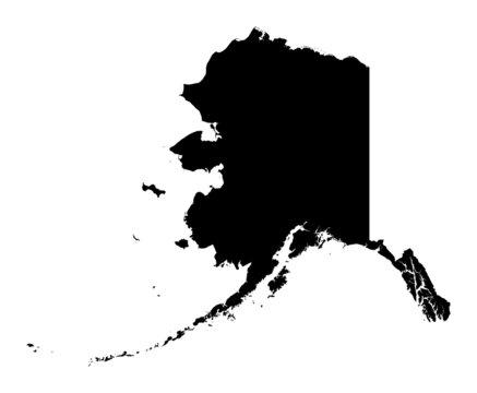 Detailed b/w map of Alaska, USA