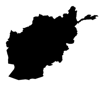 Detailed b/w map of Afghanistan