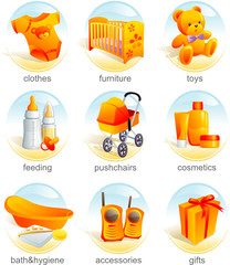 Icon set - baby shopping, clothes, furniture, toys, pushchairs
