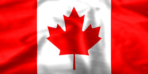 Silk effect Maple Leaf Canadian flag