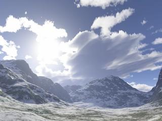 Sonnenschein und Schneeberge