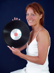 Lady with vynil record and cd  music