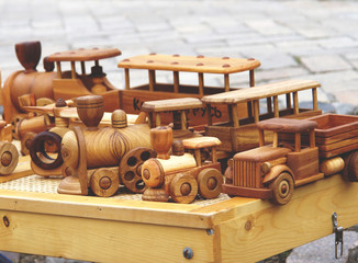 Wooden small model vehicle