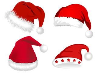 Illustration of red Santa Claus hats
