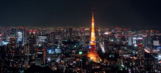 Self adhesive Wall Murals Tokyo Tokyo view by night