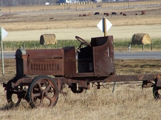 Vinage truck abandoned in field