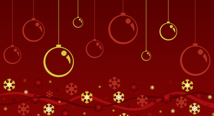 Boules de noël et étoiles rouges et or