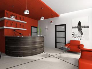 Reception room in office 3D rendering