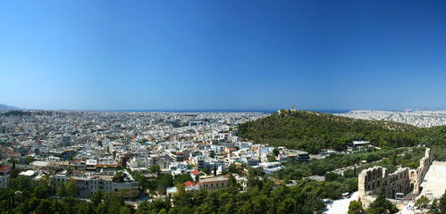 Panoramic view on Athens from Acropolis