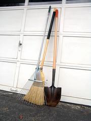 Broom, shovel and leave rake