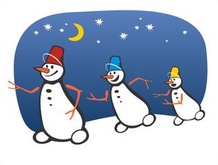 three running snowballs