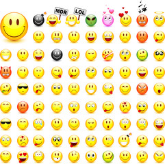 Lot de 87 smileys vectoriels, facilement modifiable