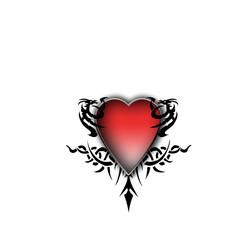 Heart with tribal tatoo illustration