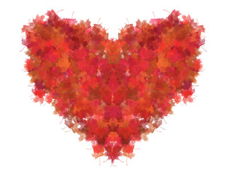 Heart from red foliage (isolated)
