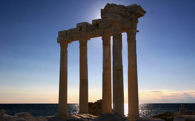 Great Sunset view over the Side Roman Arches and the ocean