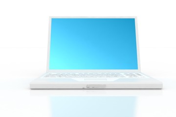 front of white laptop