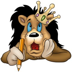 Lion with pencil  - Highly detailed cartoon illustration