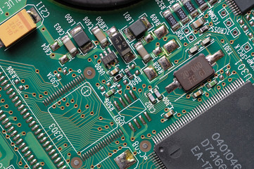 Circuit board with microchips. Close-up.