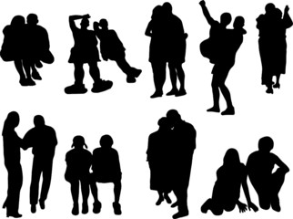 Silhouettes of the couples