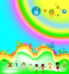 Door stickers Rainbow kids and rainbow