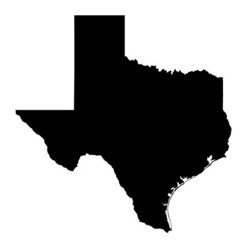 map of Texas, USA. Mercator projection.