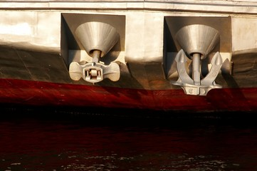 Two anchors of the river ship