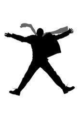 vector winter jump man