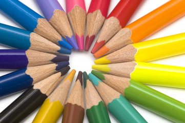 colored pencils in a round close up
