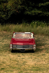 Foto op Plexiglas Oude auto s Single Red Classic Car