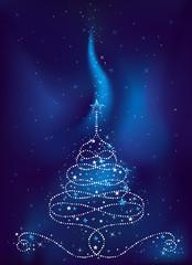 christmas tree on  dark blue background, vector illustration