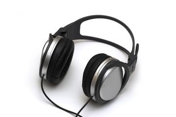 music headphones on white background