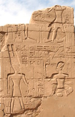 Hieroglyphics on the wall in the Temple of Karnak