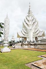 Unique white buddha temple in Thailand