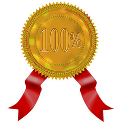 Gold seal with red ribbon 100%